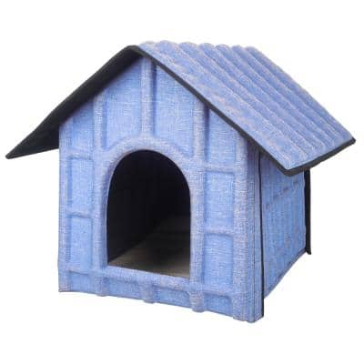 Collapsi-Pad Folding Lightweight Travel Pet House with Inner Mat in Blue