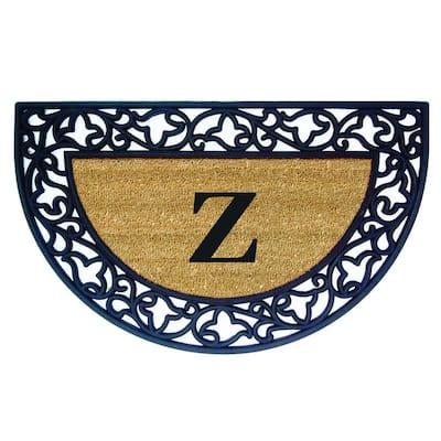Acanthus Border 22 in. x 36 in. Rubber Coir Half Round Monogrammed Z Door Mat