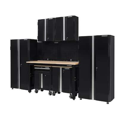 8-Piece Ready-to-Assemble Steel Garage Storage System in Black (145 in. W x 98 in. H x 24 in. D )