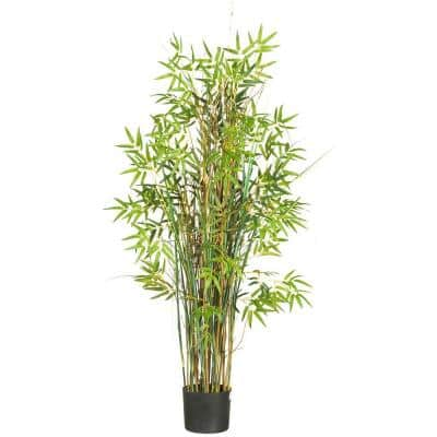 Indoor 5 ft. Artificial Bamboo Grass Silk Plant in Pot