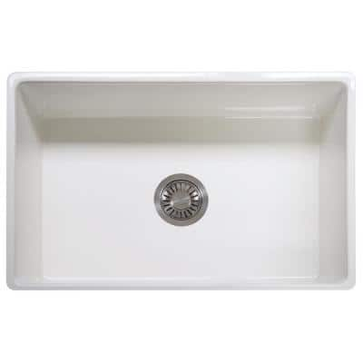 Farmhouse/Apron-Front Fireclay 30 in. x 20 in. Single Bowl Kitchen Sink in White