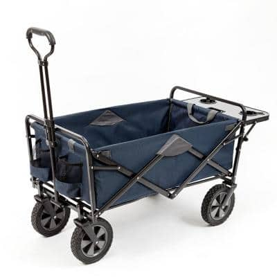 Collapsible Folding Outdoor Garden Utility Wagon Cart with Table, Navy