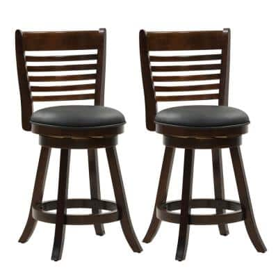 Woodgrove 25 in. Counter Height Wood Swivel Bar Stools with Black Bonded Leather Seat and 6-Slat Backrest (Set of 2)