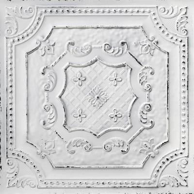 Elizabethan Shield 2 ft. x 2 ft. Glue Up PVC Ceiling Tile in Old Black White (100 sq. ft./case)