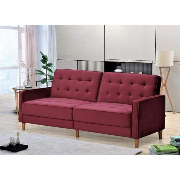 Us Pride Furniture Jonathan 80 In Burgundy Tufted Velvet 2 Seater Twin Sleeper Sofa Bed With Square Arms Sb9076 The Home Depot