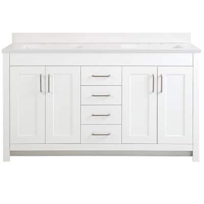 Westcourt 61 in. W x 22 in. D Bath Vanity in White with Cultured Marble Vanity Top in White with White Sinks