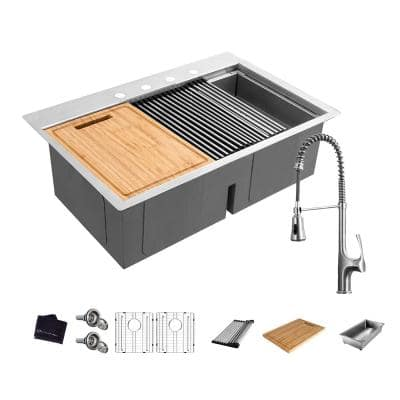 All-in-One Drop-In Stainless Steel 33 in. 4-Hole 50/50 Double Bowl Workstation Sink with Faucet and Accessories Kit
