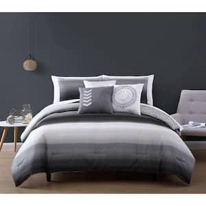 Cypress 10 Piece Black/Grey Queen Bed in a Bag Comforter Set