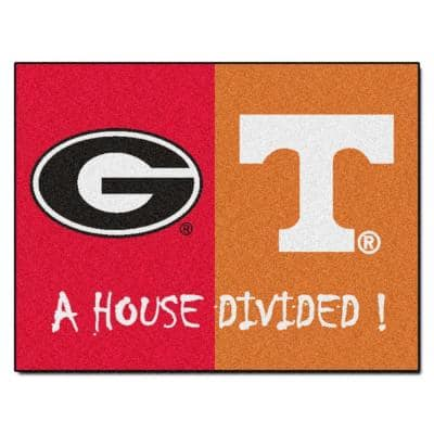 NCAA Georgia/Tennessee House Divided 3 ft. x 4 ft. Area Rug
