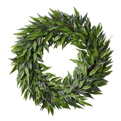 22 in. Artificial Ficus Microphylla Leaf Wreath