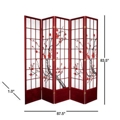 7 ft. Rosewood 5-Panel Room Divider