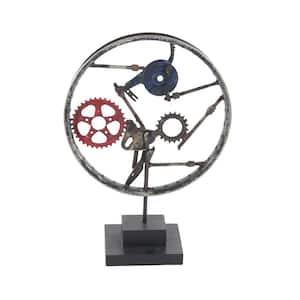 23 in. Round Iron Screws and Clockwork Wheel Sculpture