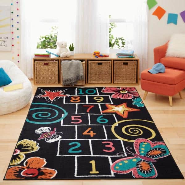 Mohawk Home Hopscotch Chalk Black 5 Ft X 8 Ft Indoor Area Rug 477738 The Home Depot
