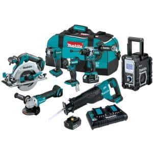 18-Volt 5.0Ah LXT Brushless 7-Piece Kit(Hammer Driver-Drill, Impact Driver, ReciproSaw, Circ Saw, Grinder, Radio, Light)