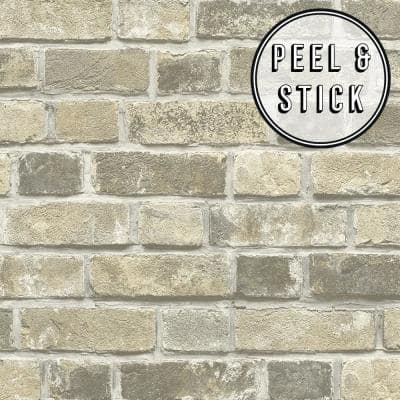 Brick Taupe Vinyl Peelable Roll (Covers 30.75 sq. ft.)