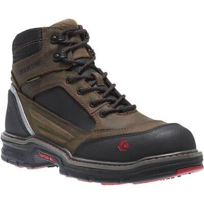 Men's Overman Waterproof 6 in. Work Boots - Composite Toe - Brown/Black Size 12(M)