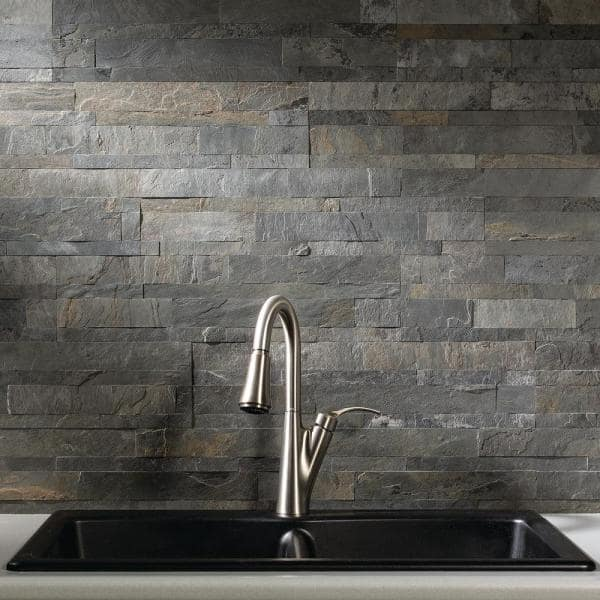 Aspect 23 6 In X 5 9 In Iron Slate Peel And Stick Stone Decorative Tile Backsplash A90 85 The Home Depot