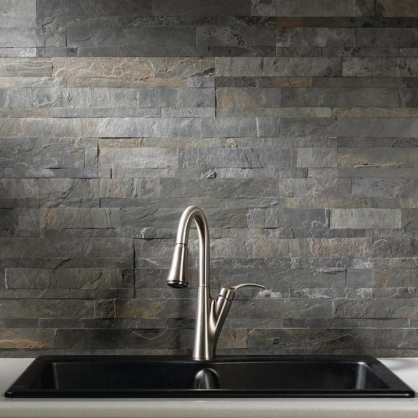 Aspect - 23.6 in. x 5.9 in. Iron Slate Peel and Stick Stone Decorative Tile Backsplash