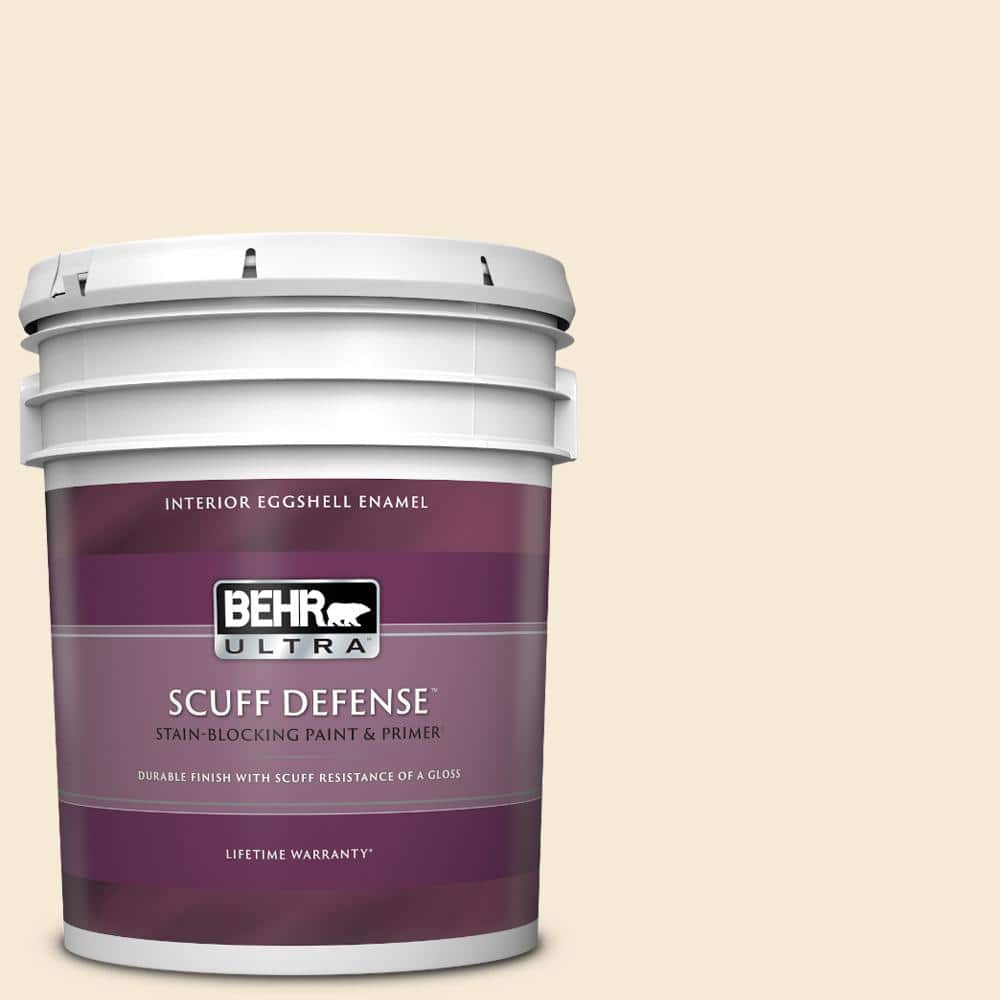 Behr Ultra 5 Gal 13 Cottage White Extra Durable Eggshell Enamel Interior Paint Primer 275005 The Home Depot