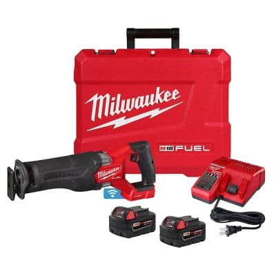 M18 FUEL ONE-KEY 18-Volt Lithium-Ion Brushless Cordless SAWZALL Reciprocating Saw Kit with Two 5.0 Ah Batteries, Case