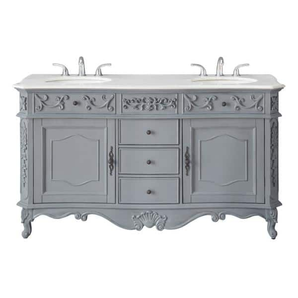 Home Decorators Collection Winslow 60 In W X 22 In D Bath Vanity In Antique Gray With Vanity Top In White Marble With White Basins Bf 27004 Ag The Home Depot