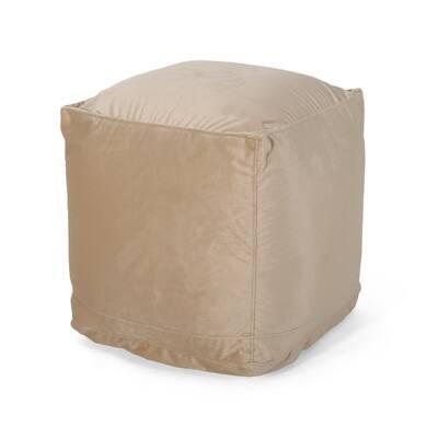 Davos 16 in. x 16 in. Taupe Velvet Cube Pouf