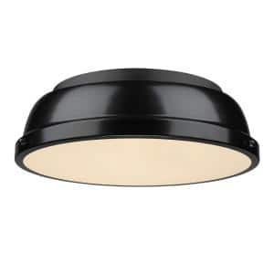 Duncan 2-Light Black Flush Mount with Black Shade