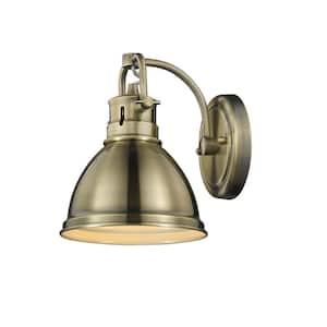 Duncan AB 1-Light Aged Brass Bath Light with Aged Brass Shade