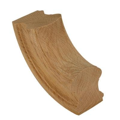 7714 Unfinished Red Oak 90° Up-Easing Stair Hand Rail Fitting