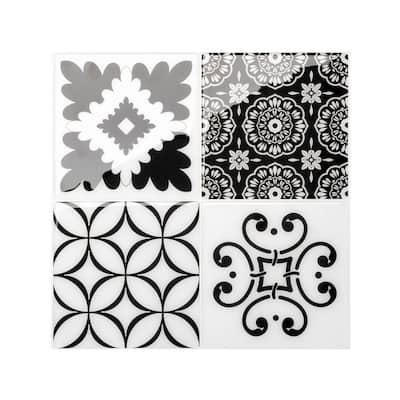 Vintage Evora Black / White 9 in. x 9 in. Vinyl Peel and Stick Tile (2.80 sq. ft./ 4-pack)