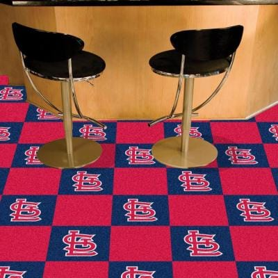 MLB - St. Louis Cardinals Navy Blue and Red Nylon 18 in. x 18 in. Carpet Tile (20 Tiles/Case)