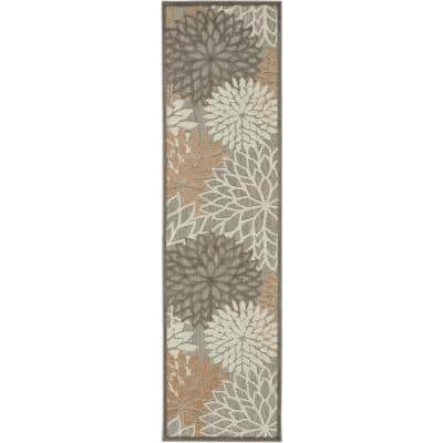 Aloha Patio Natural 2 ft. x 8 ft. Floral Modern Indoor/Outdoor Runner Rug