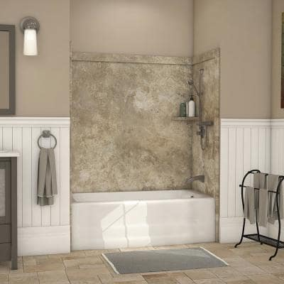 Elite 32 in. x 60 in. x 60 in. 9-Piece Easy Up Adhesive Tub Surround in Mocha Travertine