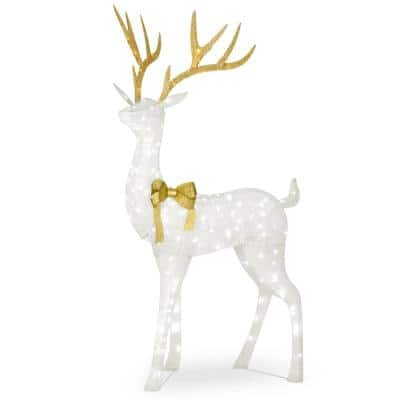 75 in. White Glitter Standing Buck with 160 Cool White LED and Twinkle Lights