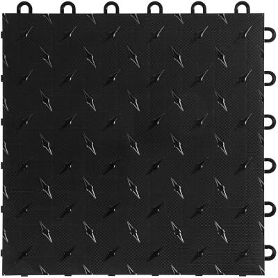 12 in. W x 12 in. L Jet Black Diamondtrax Home Modular Polypropylene Flooring (50-Tile/Pack) (50 sq. ft.)