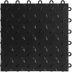 Jet Black 12 in. W x 12 in. L Diamondtrax Flex Modular Polypropylene Gym Flooring (10-Tile/Pack) (10 sq. ft.)
