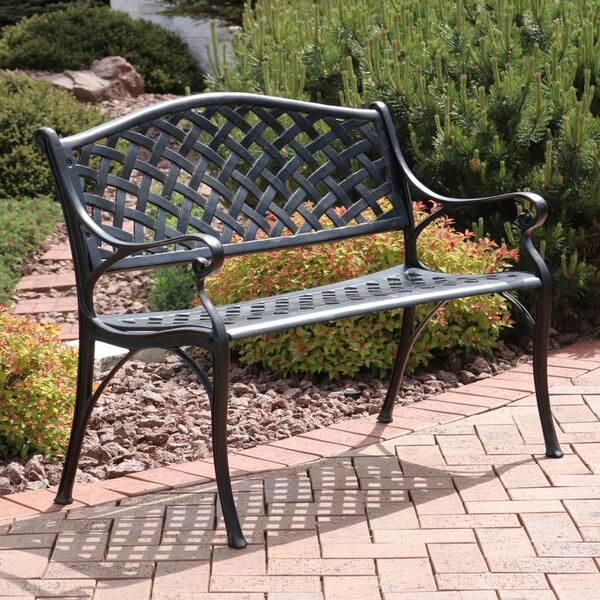 Sunnydaze Decor Checd 2 Person, Cast Aluminium 2 Seater Garden Bench