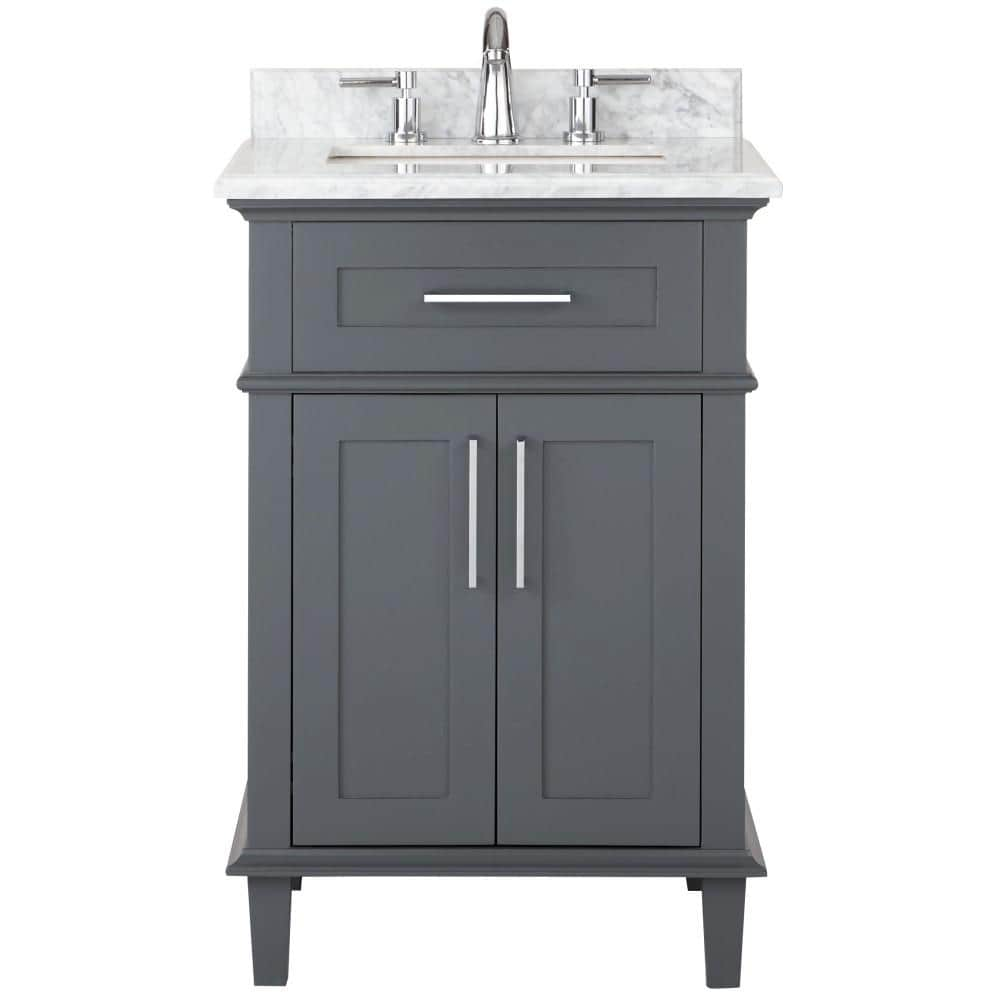 Home Decorators Collection Sonoma 24 In W X 20 25 In D Vanity In Dark Charcoal With Carrara Marble Top With White Sinks 9784800270 The Home Depot