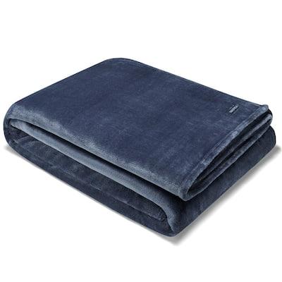 Solid Navy Blue Ultra Soft Plush Microfiber Throw Blanket