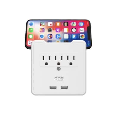 3 Outlet/2 USB Surge Protection Wall Tap with Device Cradle by One Power