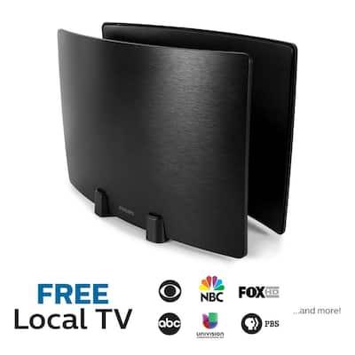 Optima Indoor HDTV Antenna, 60-Mile Range, Twin-Panel Signal Enhancing Design, VHF UHF 1080P 4K Ready