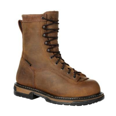 Men's IronClad Waterproof 8 inch Lace Up Work Boots - Soft Toe - Brown 10.5 (W)