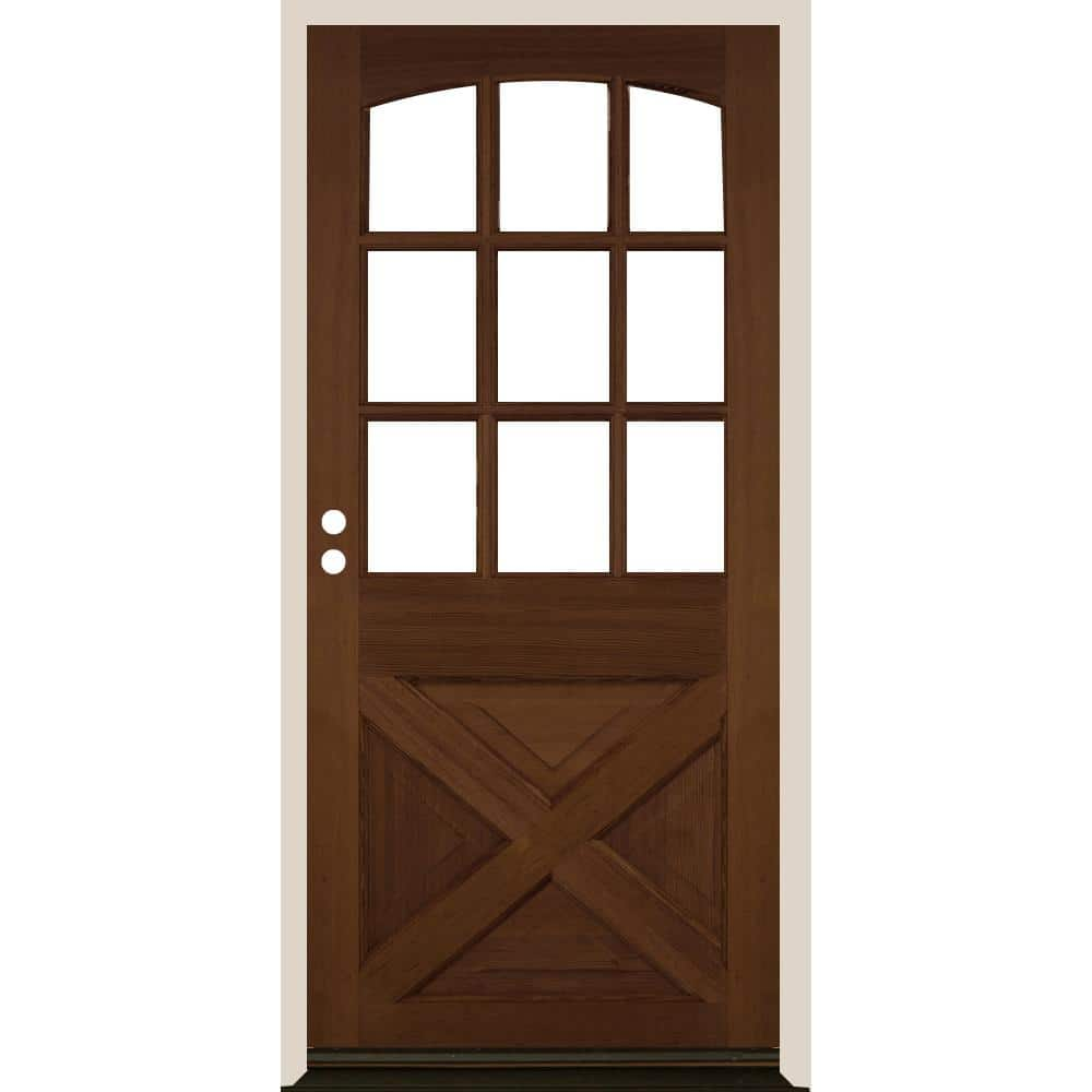 Krosswood Doors 36 In X 80 In Farmhouse X Panel Rh 1 2 Lite Clear Glass Provincial Stain Douglas Fir Prehung Front Door Phed Df 559xa 30 68 134 Rh 512 Pr The Home Depot
