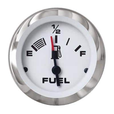 Lido 2 in. White and Stainless Steel Fuel Gauge