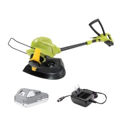 10 in. 24-Volt Cordless Sharper Blade Stringless Lawn Trimmer Kit with 2.0 Ah Battery Plus Charger