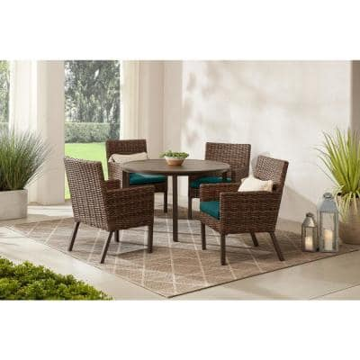 Fernlake 5-Piece Taupe Wicker Outdoor Patio Dining Set with CushionGuard Malachite Green Cushions