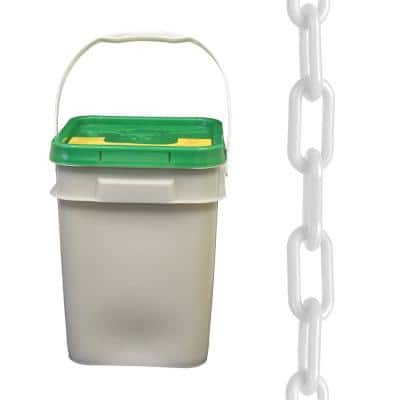 1.5 in. (#6, 38 mm) x 300 ft. Pail White Plastic Chain