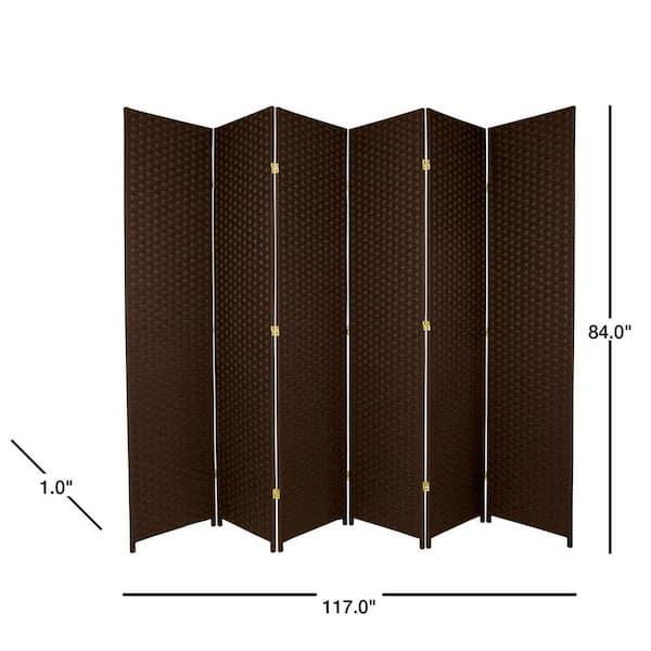 Oriental Furniture 7 Ft Dark Mocha 6 Panel Room Divider Ss7fiberdmoc6p The Home Depot