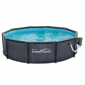 Summer Waves 10 ft. Round 30 in. Deep Hard Side Above Ground Frame Swimming Pool Set with Pump in Dark Wicker