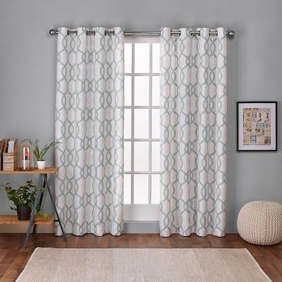 Seafoam Trellis Grommet Room Darkening Curtain - 54 in. W x 108 in. L (Set of 2)